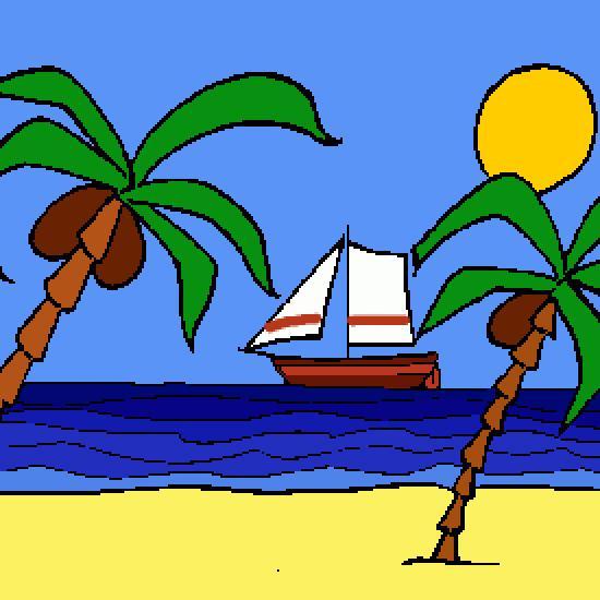 Moyenne et grande section de maternelle dans atelier scolaire dessin,ete,plage,vacances,mer-1
