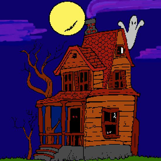Pin dessin chateau halloween a colorier on pinterest - Maison hantee dessin ...