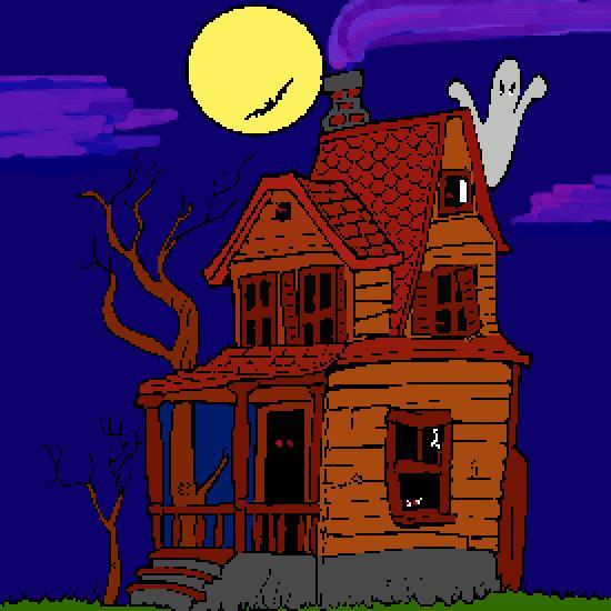 Un coloriage de halloween r alis par gh - Dessin de maison hantee ...