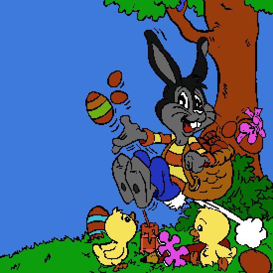Un coloriage de paques r alis par gh - 4 images 1 mot poussin lapin ...