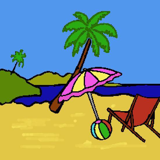 Un coloriage de ete r alis par gh - Dessin vacances mer ...