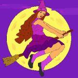 Coloriage halloween une sorci re sur son balais - Jeux de sorciere potion magique gratuit ...
