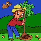 Le jardinier plante un arbre coloriages de printemps en for Jardinier en ligne