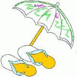 Dessin de parasol et de tong coloriages d 39 t et vacances en ligne - Dessin parasol ...