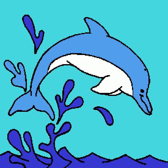 dessin dauphin saute mer vague 30